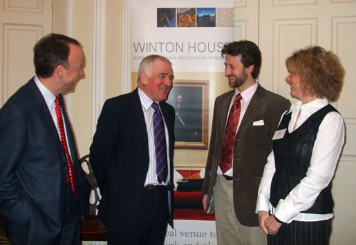 Pictured in Winton House's magnificent Octagon Room, from the left, Gregor Murray, the Enterprise Minister Jim Mather, Sir Francis Ogilvy and Laura Socha. Winton House's secluded location makes it the perfect venue for discreet debates, private meetings and confidential discussions