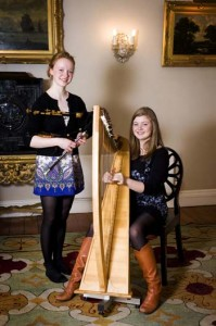 Emily Hoile clarsach and Alice Burn Northumbrian small pipes 2 Winton House Lammermuir Festival 2011 credit Amelia Jacobsen
