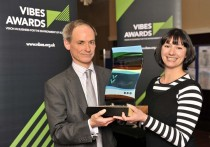 Christopher Lamotte and Morag Morrison receiving the VIBES award on behalf of Winton House.