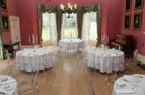 Dining room with ghost chairs at Winton House.
