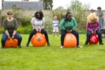 Space hoppers in the walled garden at Winton House.