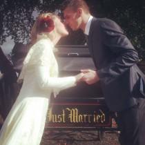 Bride & groom kissing - Winton House