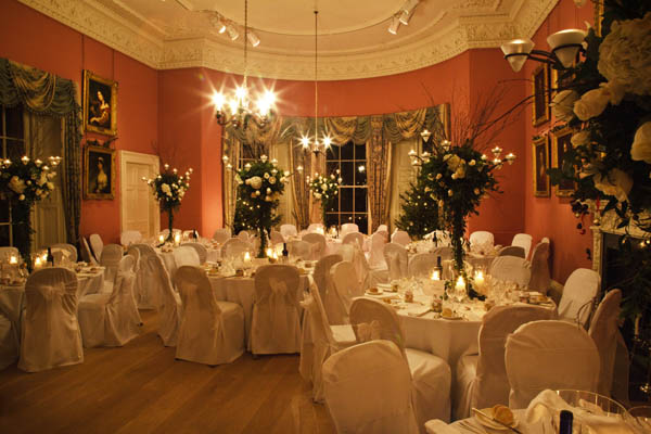 Dining Room set for Christmas Party at Winton House.