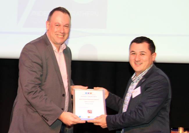 Paul Nixon receiving Green Business Award for Winton House