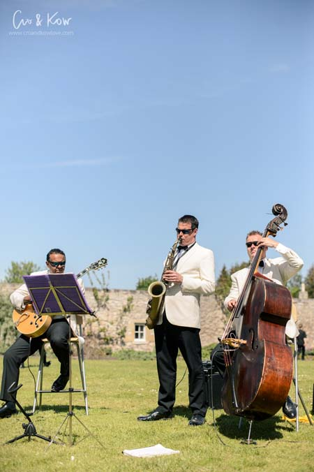 Garden Party Wedding with jazz band playing - Winton House