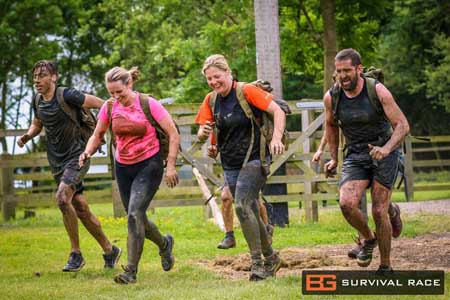 Runners in Bear Grylls Survival Race Training 6 Aug 2016 Winton House