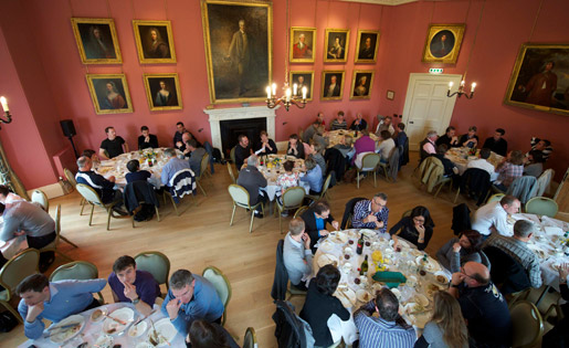 Visitors at an incentive event enjoying a meal in Winton House�s dining room