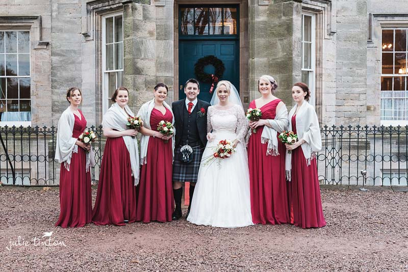 Brides maids outside Winton Castle.