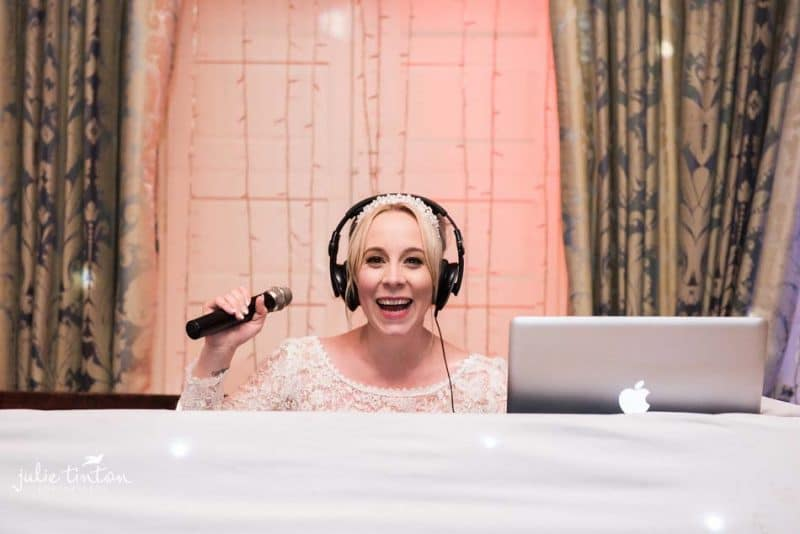 Bride as DJ at Winton Castle!