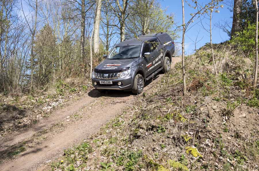 Mitsubishi L200 on Winton Castle off road 4 x 4 course.