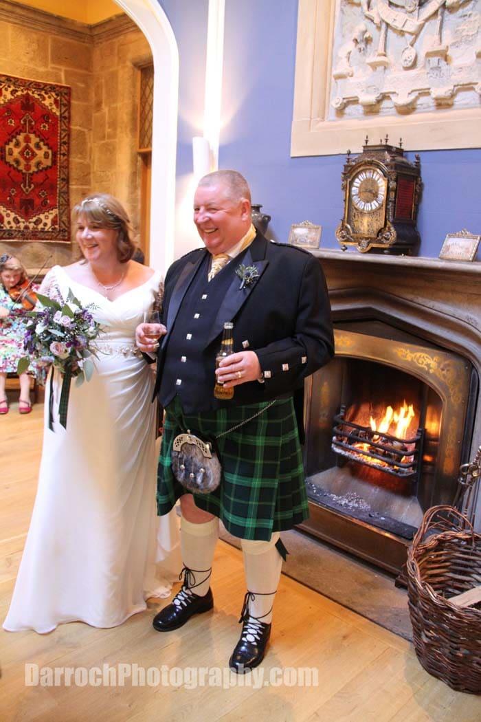 Bride and groom - wedding at Winton Castle near Edinburgh
