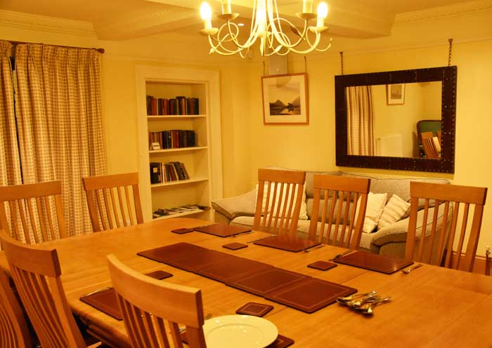 Dining room at Winton Cottage self catering accommodation in East Lothian.