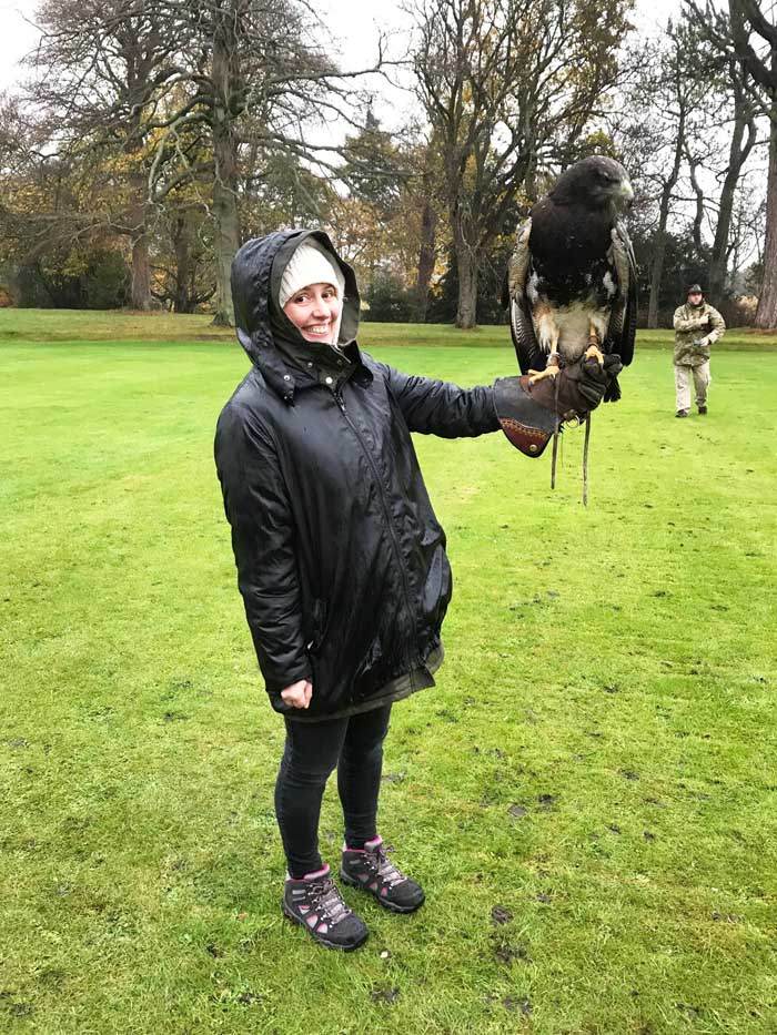 Eagle with client at Winton Castle