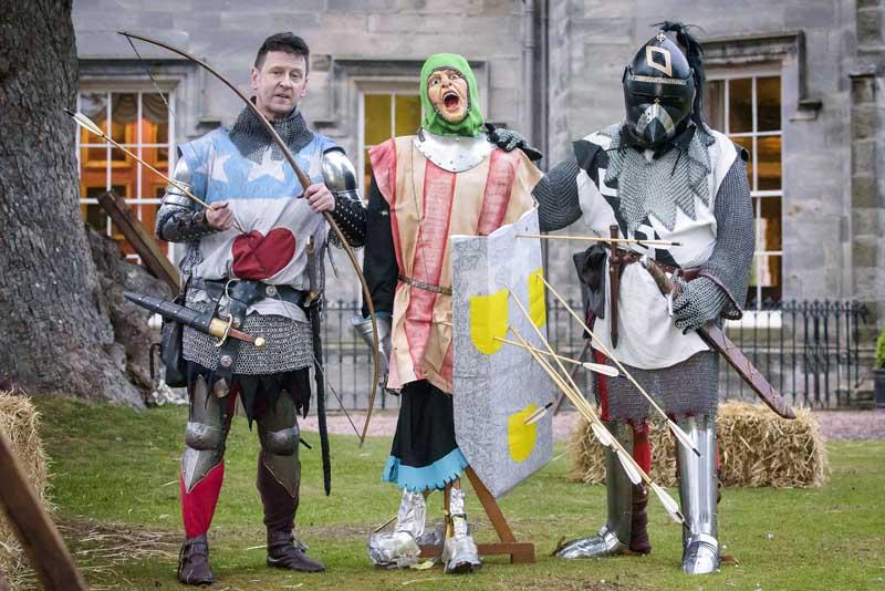 Knights in front of Winton Castle in East Lothian