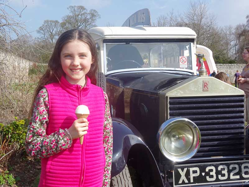 Young American girl enjoying a Luca's ice cream at Winton Open Day