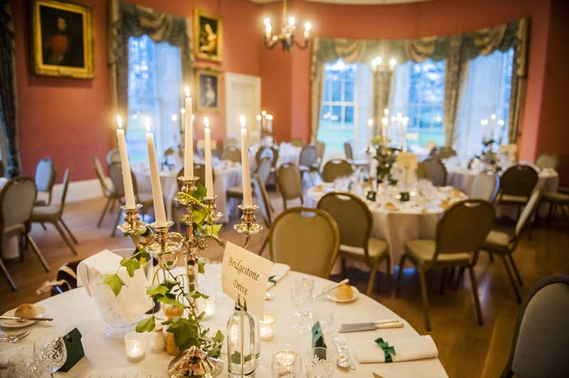 Wedding Tables Set in Dining Room Winton Castle