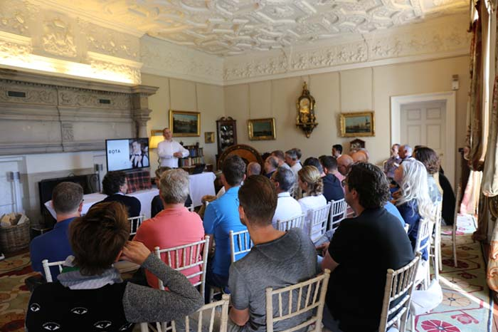 Conference in drawing room at Winton Castle