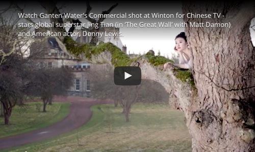 Chinese Ganten Water advert filmed at Winton Castle, a film location near Edinburgh