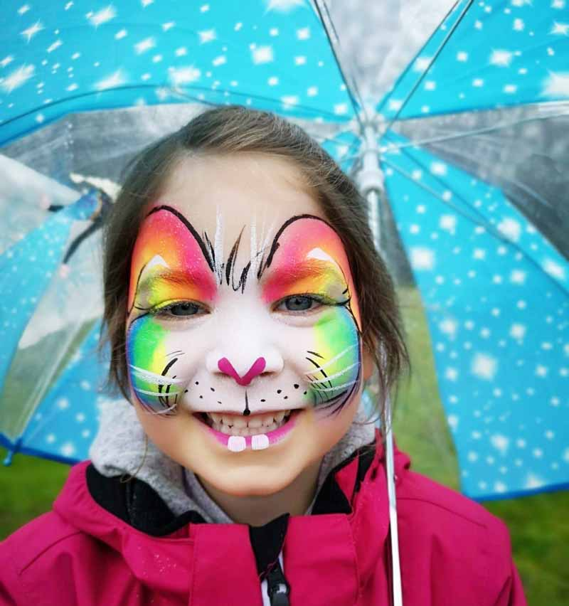 Girl with Face Painted on Winton Open Day 2019