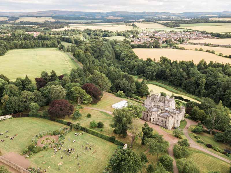 Falconry and Highland Games at Wedding at Winton Castle near Edinburgh