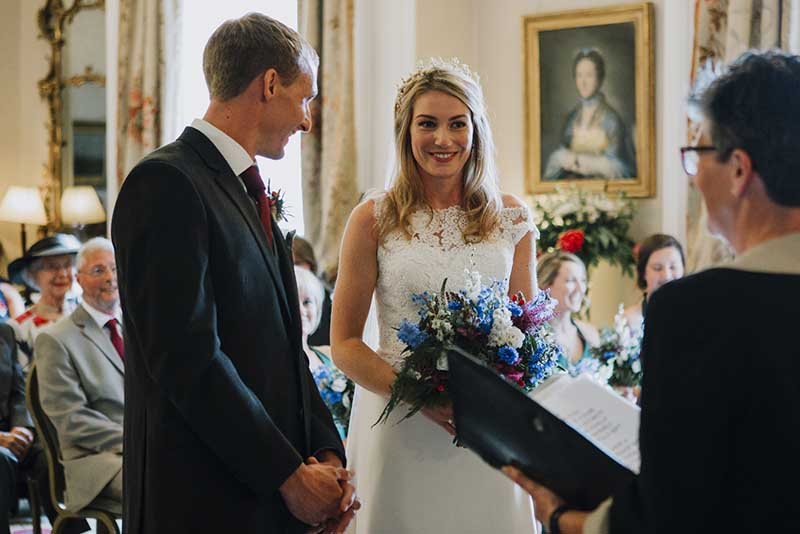 Wedding ceremony in Winton Castle's Drawing Room.
