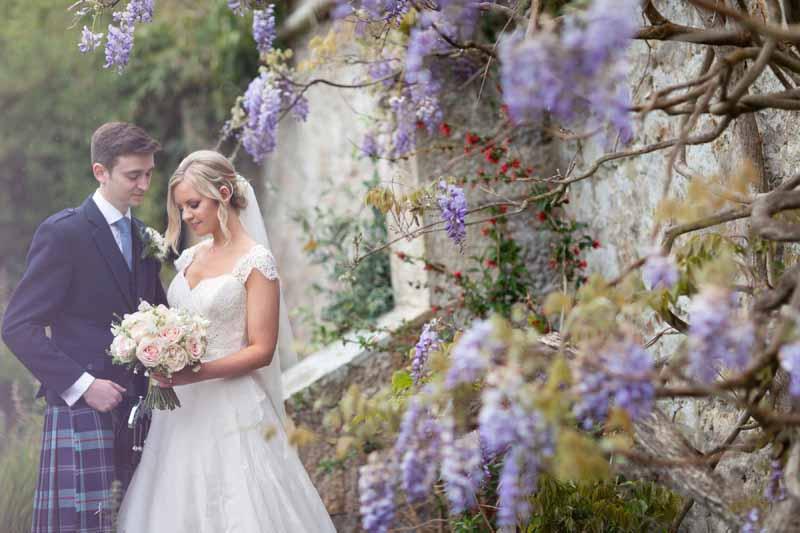 Bride and Groom in Winton Castle's Terraced Gardens