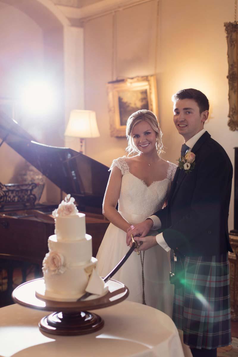 Wedding Cake Cutting_Winton Castle Wedding Venue Edinburgh