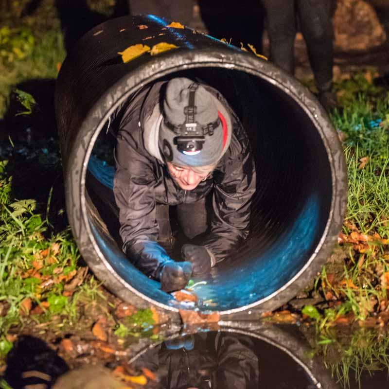 Runner crawling through pipe at Winton Halloween 5K Run.