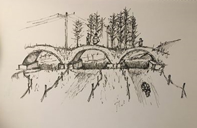 Bridge on Thistly Cross Cyclocross Course at Winton_Sketch by Anthony Robson